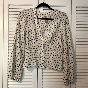Free People button front polka dot blouse - NWT
